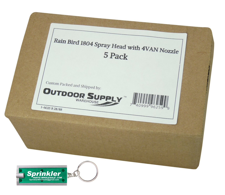 Rain Bird 1804 4'' Spray Head with 4VAN Nozzle; 0° to 360° Adjustable; 4' Radius with a Free SprinklerPartsWholesale Flashlight Keychain (5)