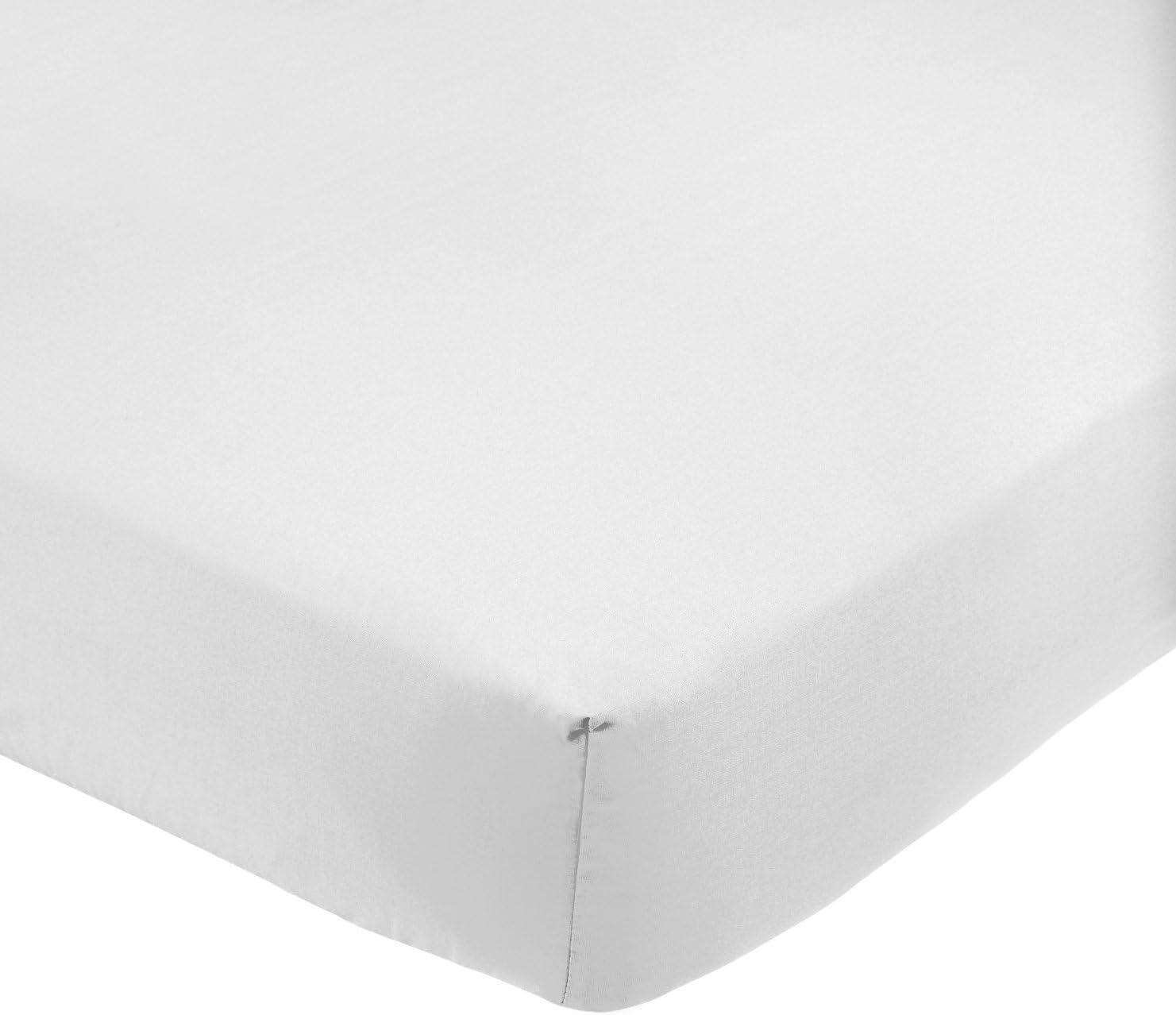 AmazonBasics - Sábana bajera ajustable (polialgodón 200 hilos) Blanco - 160 x 200 x 30 cm