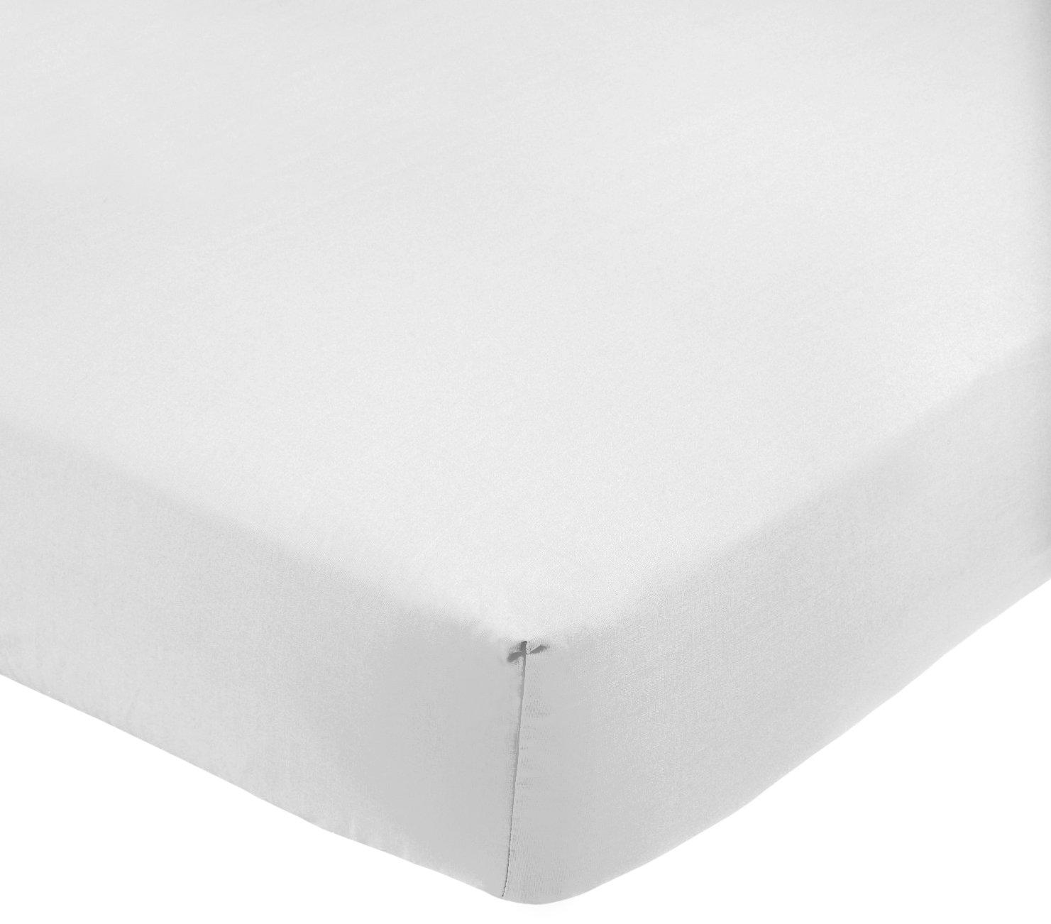 AmazonBasics - Sábana bajera ajustable (polialgodón 200 hilos) Blanco - 160 x 200 x