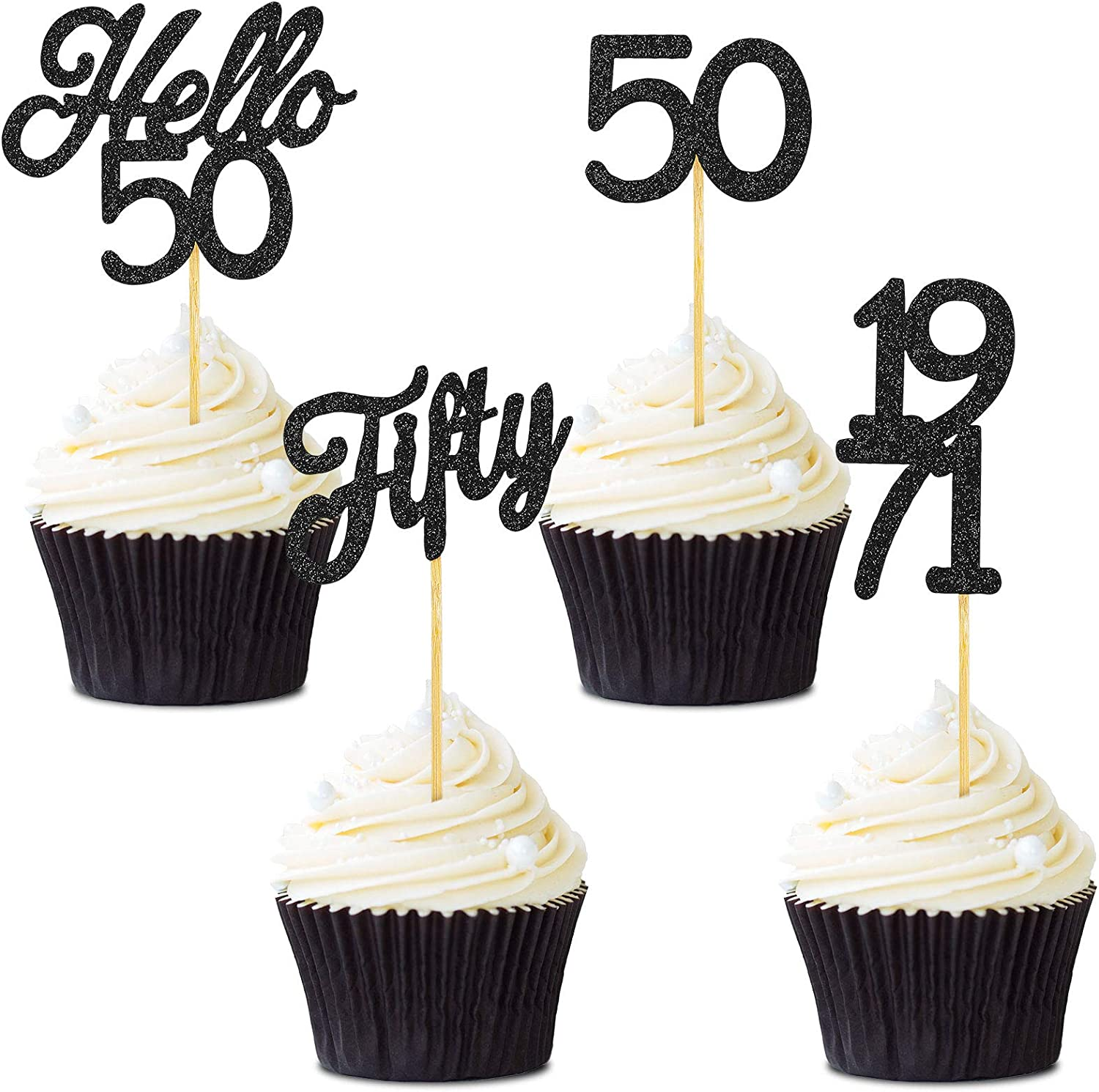 48 Pieces Glitter Hello 50 Birthday Cupcake Toppers Fifty 1971 Picks Anniversary Party Cake Toppers Decorations for 50th Anniversary Birthday Party Wedding Decorations (Black)