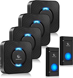 Wireless Doorbell kit, ELEPOWSTAR Door Bell Alarm with 1000 feet Operating Range, Door Chime Alarm with 5 Volume Levels (Mute Mode), 58 Melodies Chimes