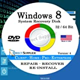 WINDOWS 8 - 64 Bit DVD SP1, Supports All Versions. Core, Home, Client, Professional, and Enterprise. Recover, Repair, Restore or Re-install Windows to Factory Fresh!