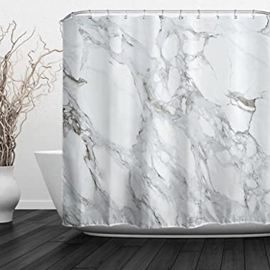 ALFALFA Black and White Marble Design Shower Curtain with Hooks,  Modern Style, Waterproof Fabric, 60  W x 72  H (150CM x 180CM) - White Stone