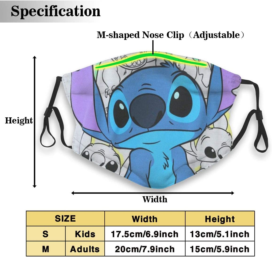 CBHGJ Lilo and Stitch Mouth Guard with Filter Unisex Anti-Dust Washable Reusable Mouth Guard for Kids Teens Adults