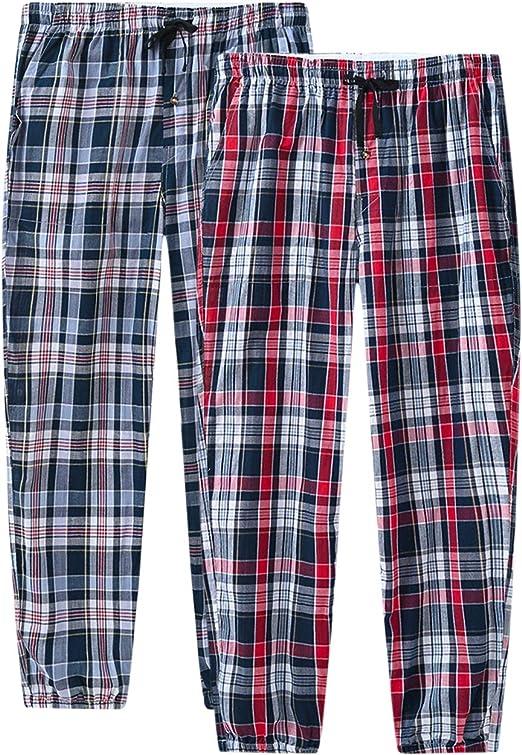 JINSHI Hombre Pijama Pantalones Largos de Algodón Pantalón de Estar a Cuadros Pack: Amazon.es: Ropa y accesorios
