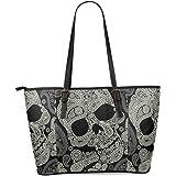 InterestPrint Paisley Sugar Skull Women's Leather Tote Shoulder Bags Handbags
