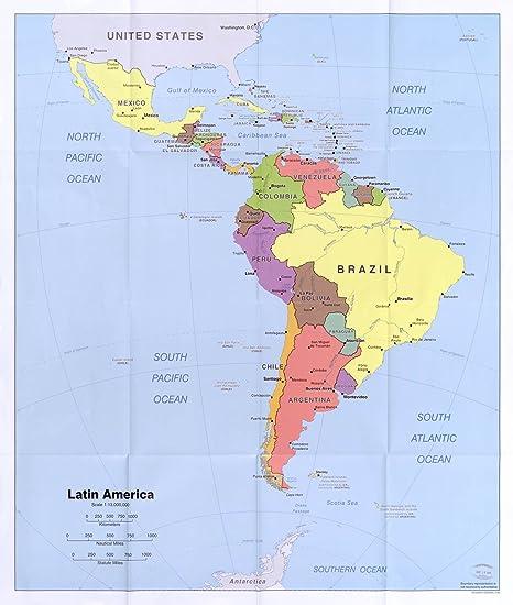 Map Poster - Latin America. 24 X 20.5
