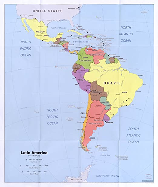 America Map.Amazon Com Map Poster Latin America 24 X20 5 Posters Prints