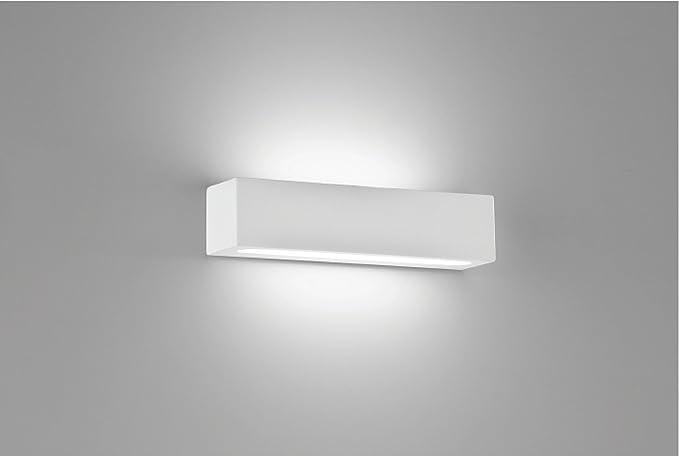 Applique rettangolare 30cm moderno led 18w 3000k in gesso bianco