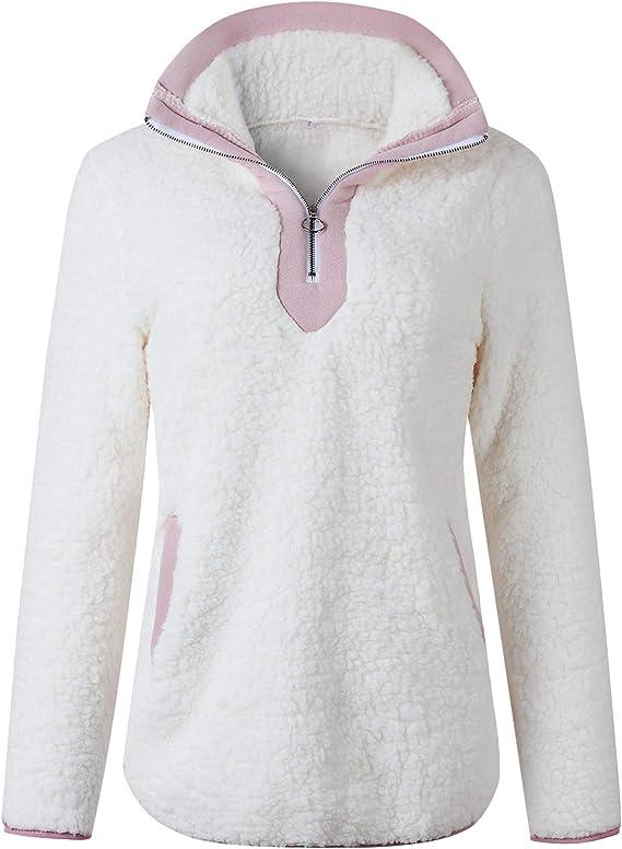 con cuello redondo Sudadera de forro polar para mujer para invierno MARYSAY