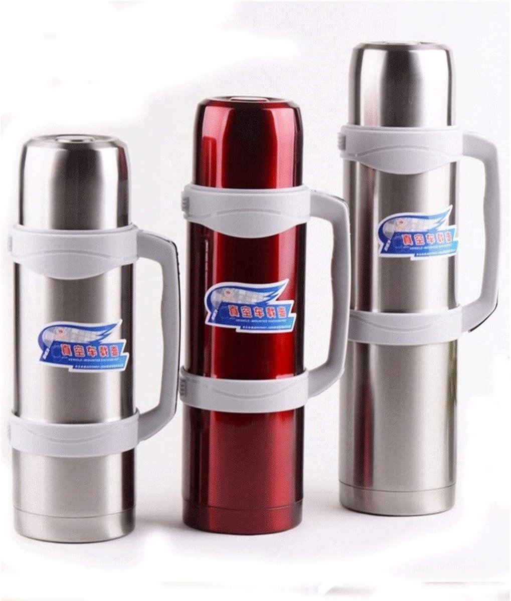 TPXR カー断熱ポット、大容量、ステンレス鋼真空フラスコ、真空アウトドア旅行旅行湯たんぽ、屋外断熱ポット、2.6L / 3.5L / 3.0L、スチールカラー/赤 (Color : 赤, Size : 2.6L) 赤 2.6L