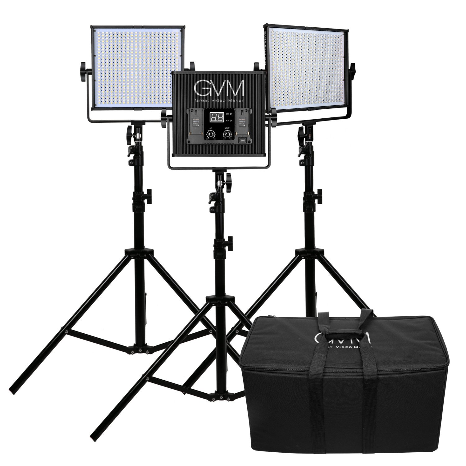 GVM LED Video Light Kit 520LS CRI97 Plus & TLCI 97+ Plus 18500lux@20 inch Variable color temperature 3200-5600K with Digital Display for Video Making photography lighting and Location Shooting, Studio