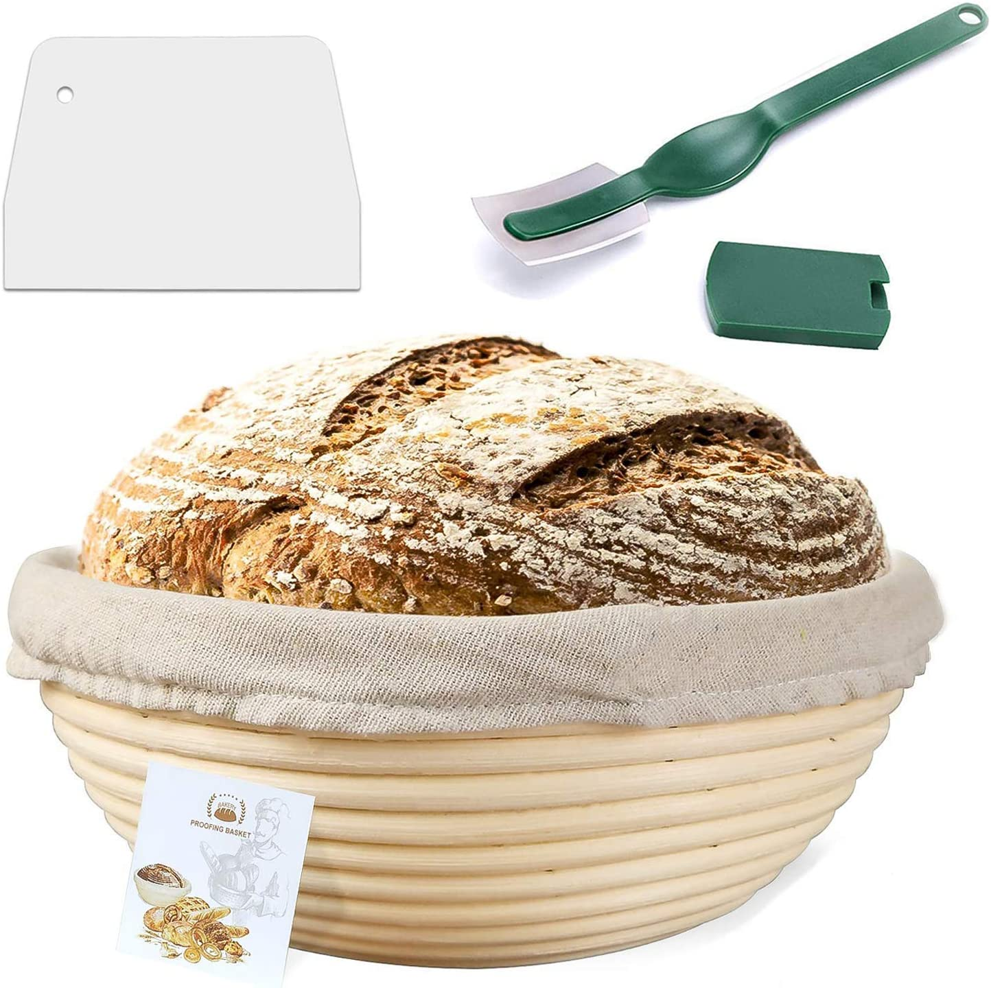 10 Inch Proofing Basket,WERTIOO Bread Proofing Basket + Bread Lame +Dough Scraper+ Linen Liner Cloth for Professional & Home Bakers