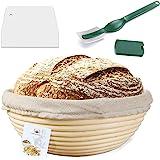 10 Inch Proofing Basket,WERTIOO Bread Proofing Basket + Bread Lame +Dough Scraper+ Linen Liner Cloth for Professional…