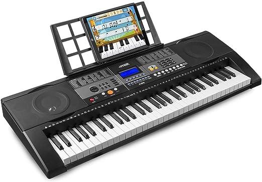 MAX KB3 Teclado Piano electrónico con 61 teclas con función touch sensibles a la velocidad, altavoces integrados, función de grabación y aplicación de ...