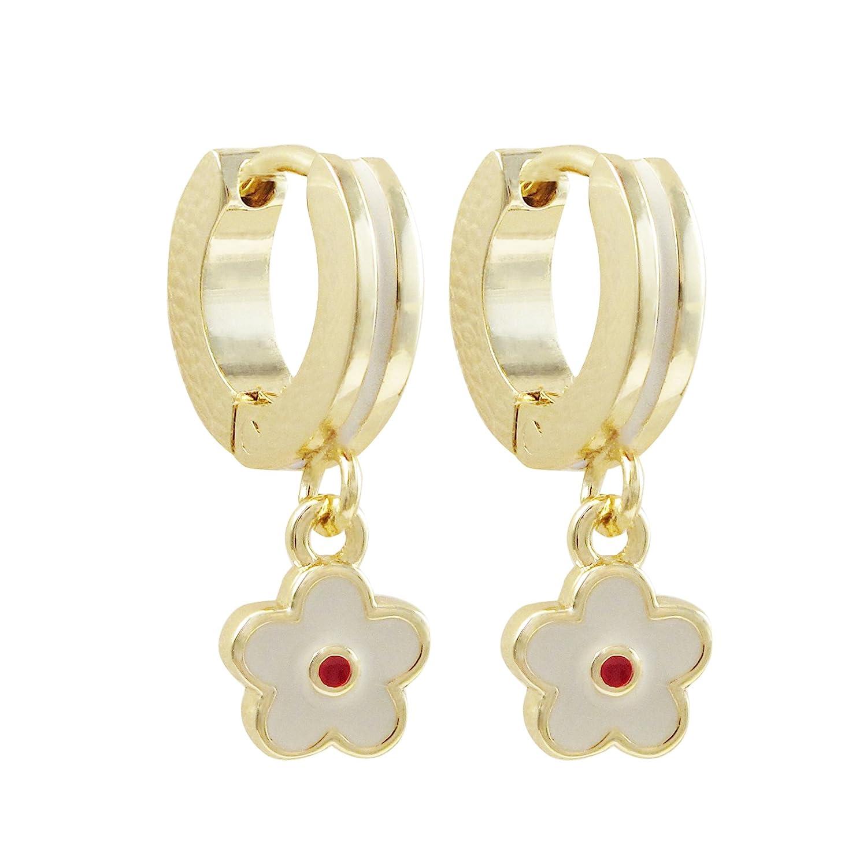 Ivy and Max Gold Finish White Enamel Flower Girls Dangle Earrings