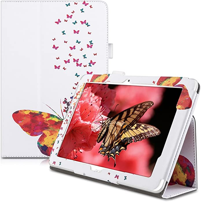 kwmobile Case Compatible with Acer Iconia Tab 10 (A3-A20) - Slim PU Leather Tablet Cover with Stand Feature - Butterfly Swarm Multicolor/Dark Pink/White