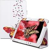 kwmobile Housse en cuir synthétique chic pour Acer Iconia Tab 10 (A3-A20) en multicolore fuchsia blanc avec fonction support pratique et Design Papillons multicolores