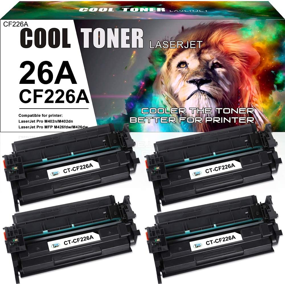 Cool Toner Compatible Toner Cartridge Replacement for HP 26A CF226A 26X CF226X Laser Jet Pro MFP M426fdw M402n M402dn M402dw M426fdn M426dw M402 M402d 402n M426 Printer Toner Ink (Black, 4-Pack)