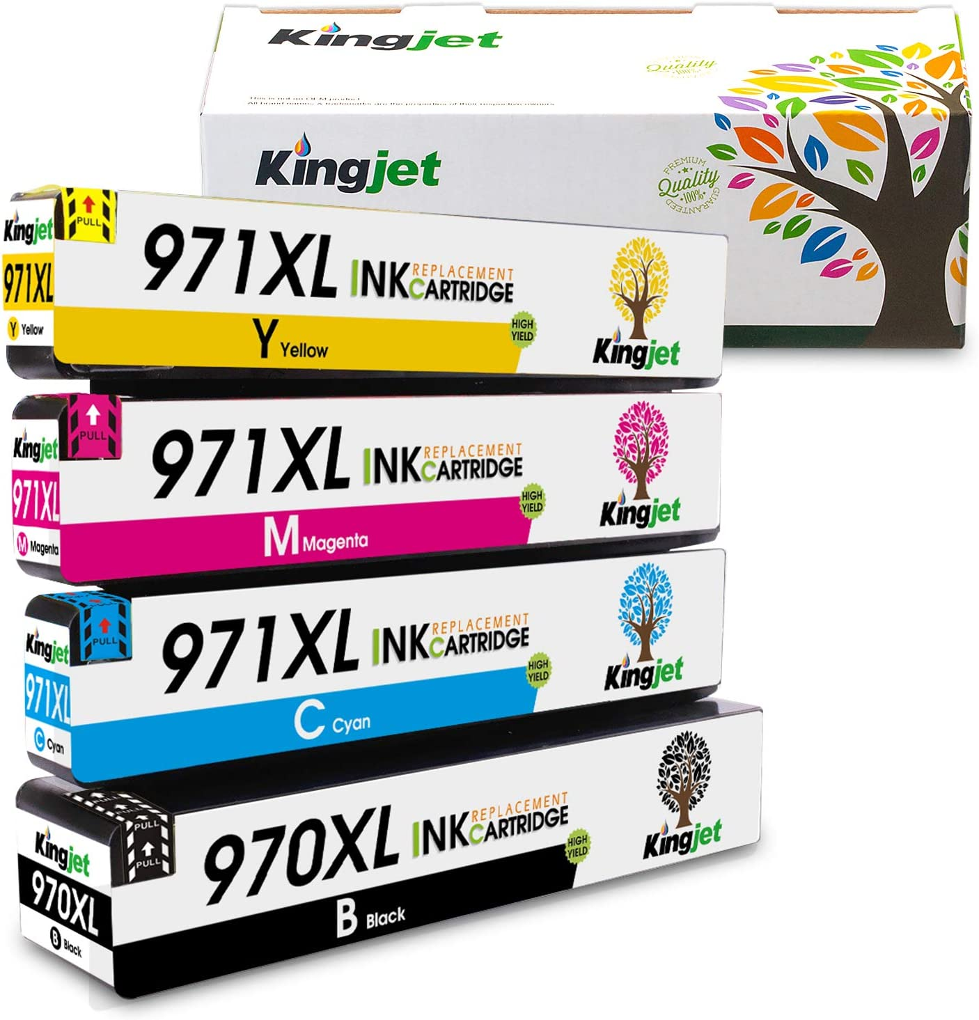 Kingjet Compatible Ink Cartridge Replacement for 970XL 971XL Work with Officejet Pro X576dw X451dn X451dw X476dw X476dn X551dw Printers, (4 Pack)