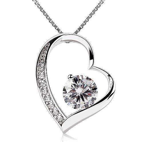 B.Catcher Women Necklace Forver Love Heart Pendant Necklace 925 Sterling Silver Box Chain 7JCrS