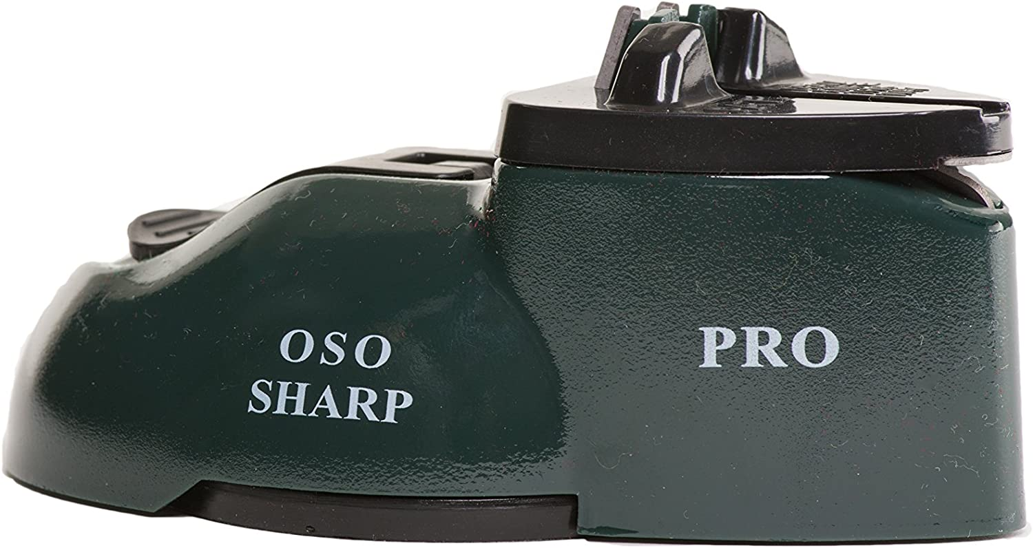 OSO Sharp pro knife and scissor sharpener with suction cup for easy one handed use,perfect for straight and serrated knives with dedicated slot for scissor sharpening. (Green)