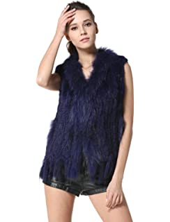 07f3ba2fb9 MEEFUR Rabbit Fur Vests Raccoon Fur Collar Real Fur Knitted Women Waistcoat