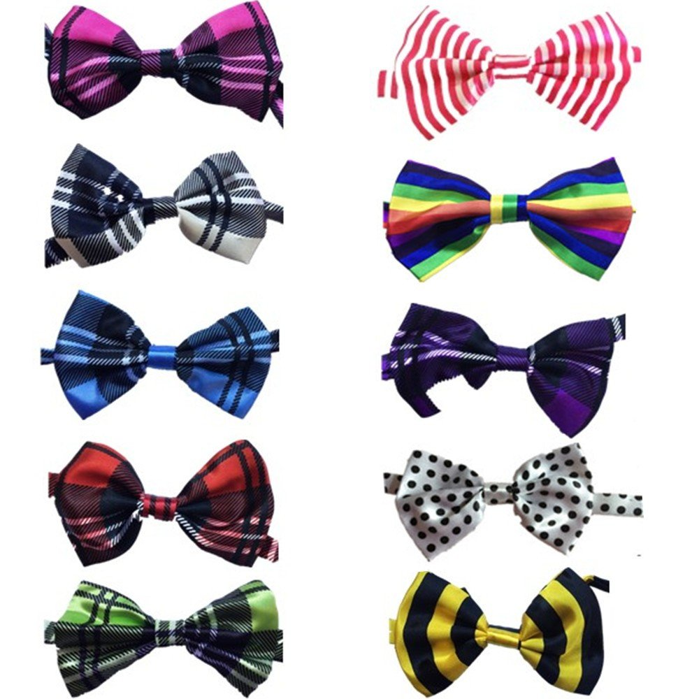 Lebbeen 10pcs/pack,Pet Dog Bow Tie Collar,Adjustable Pet Cat Dog Bow Ties Bowties,Grooming Accessories by Lebbeen (Image #1)