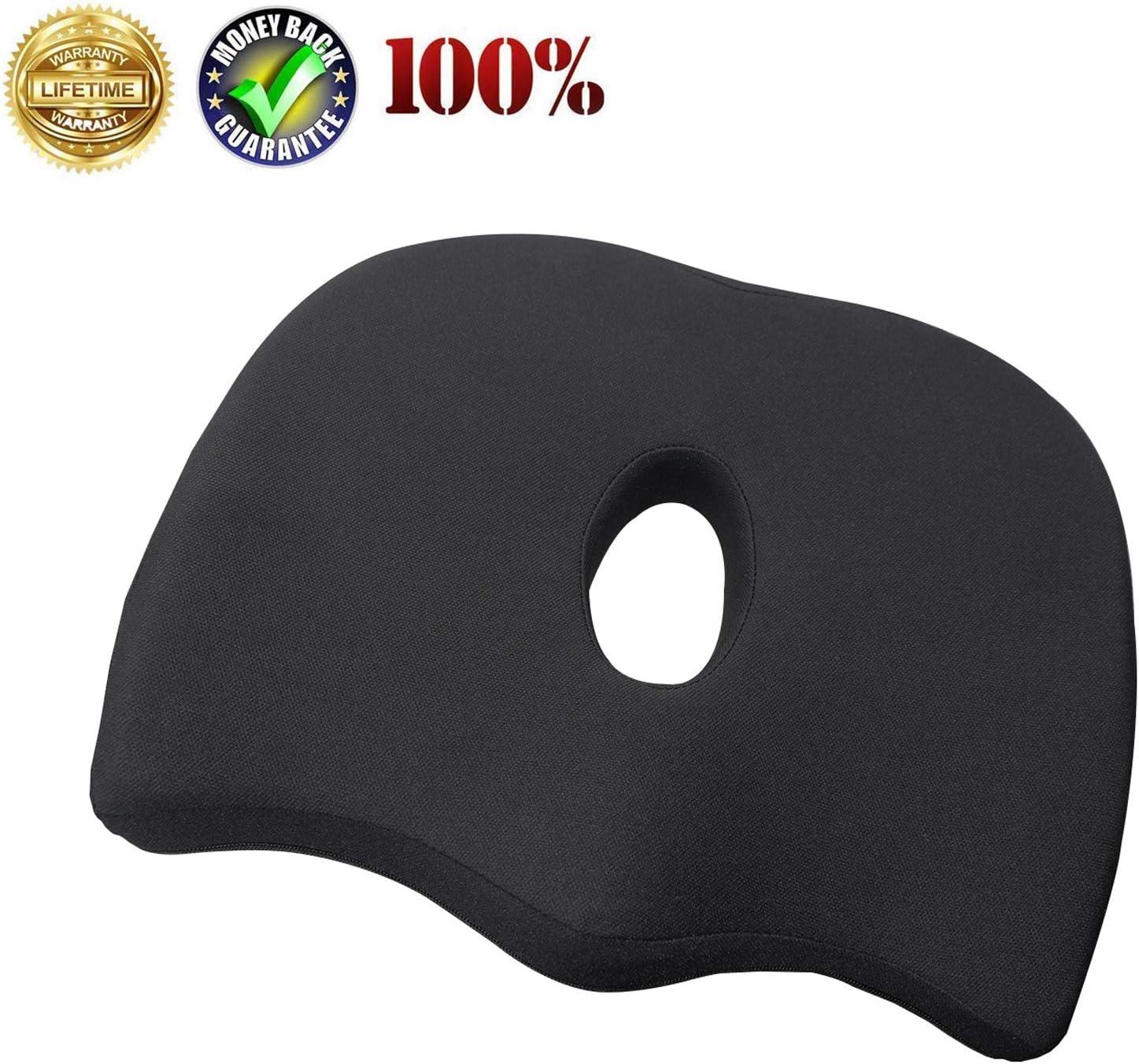 Uhealer Premium Comfort Seat Cushion Non-Slip Orthopedic Memory Foam Coccyx Cushion for Tailbone Pain Cushion for Office Chair Car Seat Back Pain Sciatica Relief