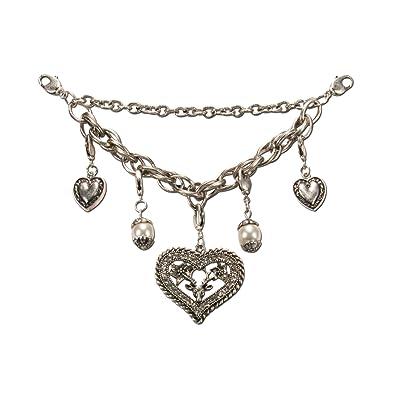 Heimatflüstern Trachtenschmuck * Damen Charivari Strass-Herz mit Hirsch * Trachtenkette mit Trachten-Herzen und Perlen * Dirn