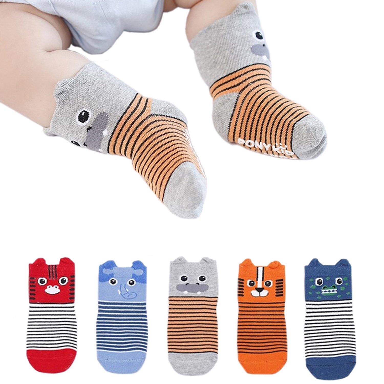 FlyingP Baby Socks 5 Pairs Anti Skid Slip Socks Non Skid Ankle Cotton Socks Baby Walker Grip Socks for 12-36 Months Toddler and Infants by FlyingP (Image #3)