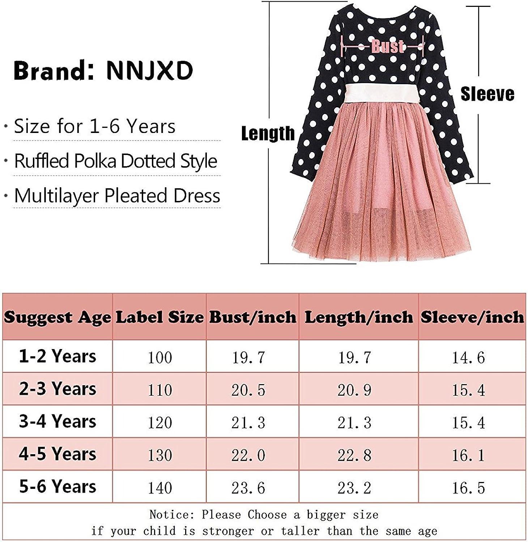 NNJXD Ragazza a Pieghe a Pois Multistrato con Pieghe increspate Vestito