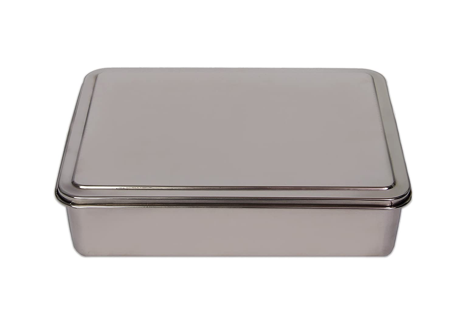 YBM HOME Stainless Steel Covered Cake Pan, Silver (Small-2401)
