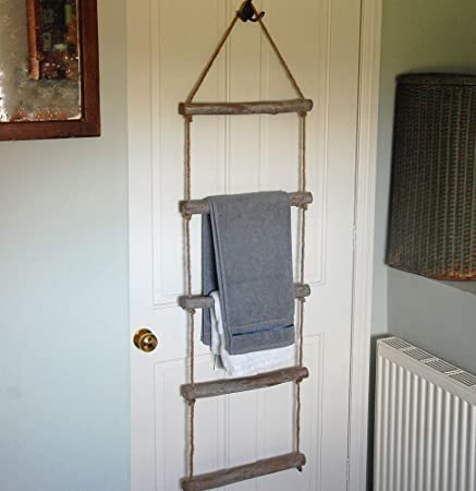 Hanging Wooden Rope Bathroom Towel Ladder Rail
