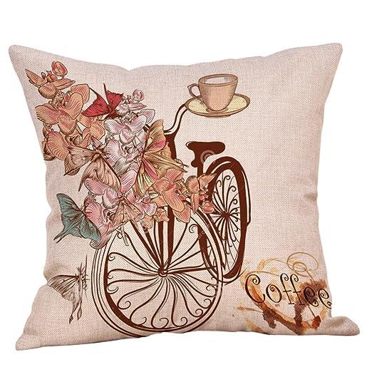 Fundas de cojín, HEHEM algodón Lino para Bicicleta Flor ...
