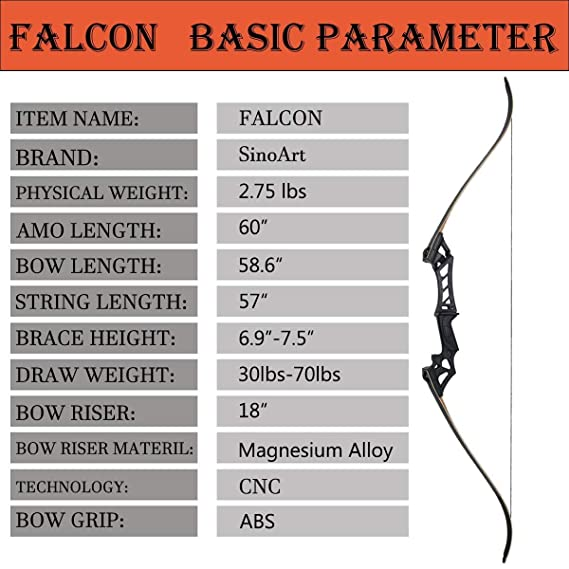 Amazon Sinoart Falcon 60 Takedown Hunting Recurve Bow Metal