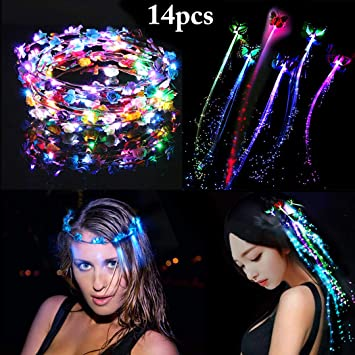 New Flashing Flower Headband Garland Women/'S Led Light Up Hair Band Headwear OX