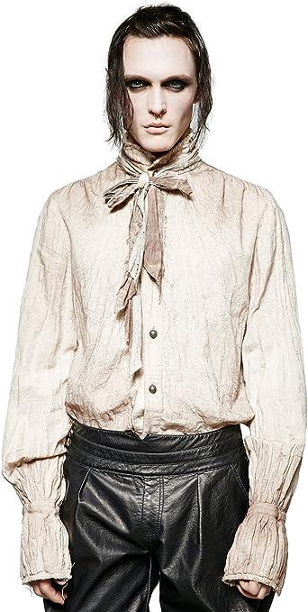 Punk Rave - Camiseta de poeta estilo steampunk para hombre, color blanco gótico VTG victoriano + bufanda: Amazon.es: Ropa y accesorios