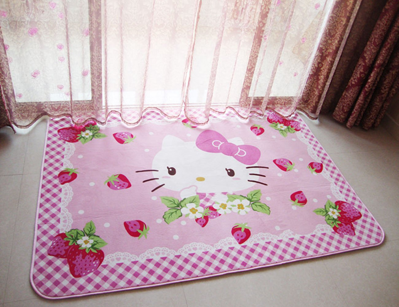 Kids Bedroom Playing/Crawling Mat,Hello Kitty Area Rug