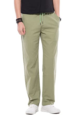 cd0d91a29e5 Image Unavailable. Image not available for. Color  Mens Drawstring Casual  Linen Pants Men ...