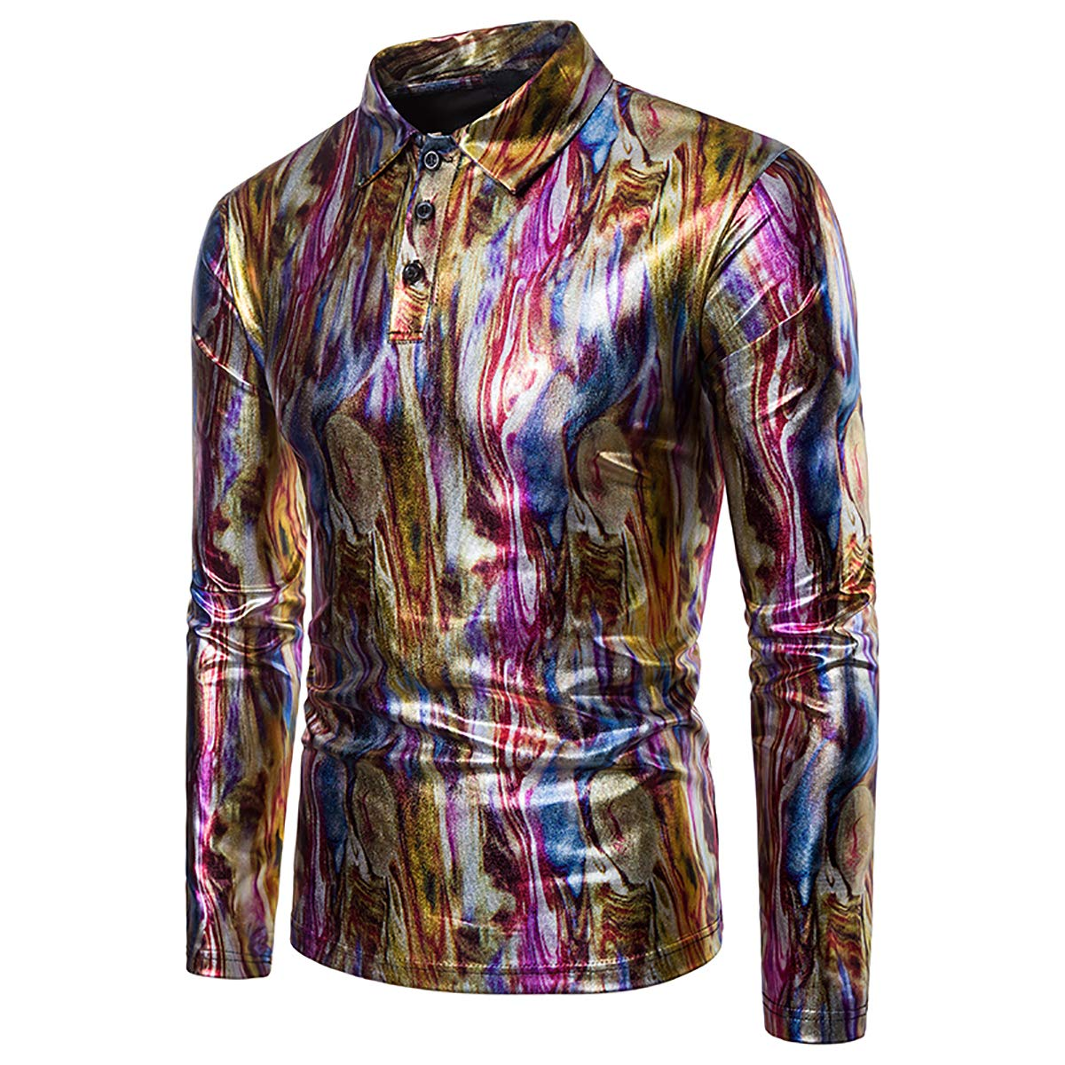 Boyland Mens Polo Shirts Long Sleeves Colorful Metallic Shirt O Neck Strips Shirt Party Nightclub