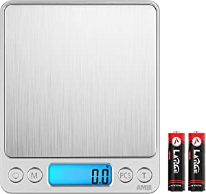 AMIR Digital Kitchen Scale, Food Meat Scale, 3000g/ 0.01oz/ 0.1g Precise Graduation, Mini Food Scale with Back-Lit LCD Display, Tare and PCS Functions