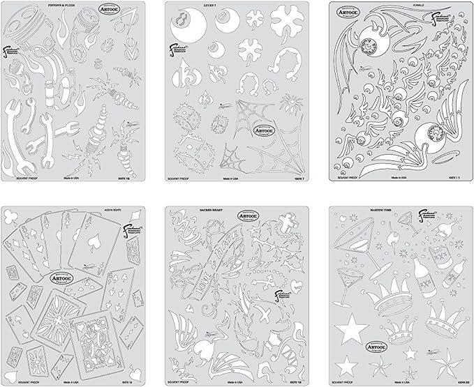 Iwata-Medea Artool Freehand aerógrafo Plantillas, Kustom Kulture Mini Serie: Amazon.es: Juguetes y juegos
