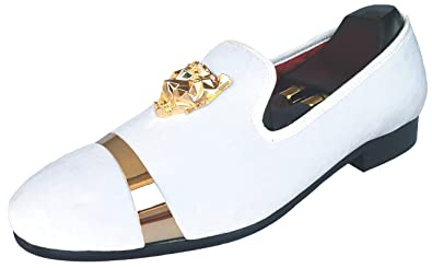 e9e60bc85228 Men s White Velvet Loafers Dress Shoes with Gold Buckle Slip-on Smoking  Slippers Wedding Flats