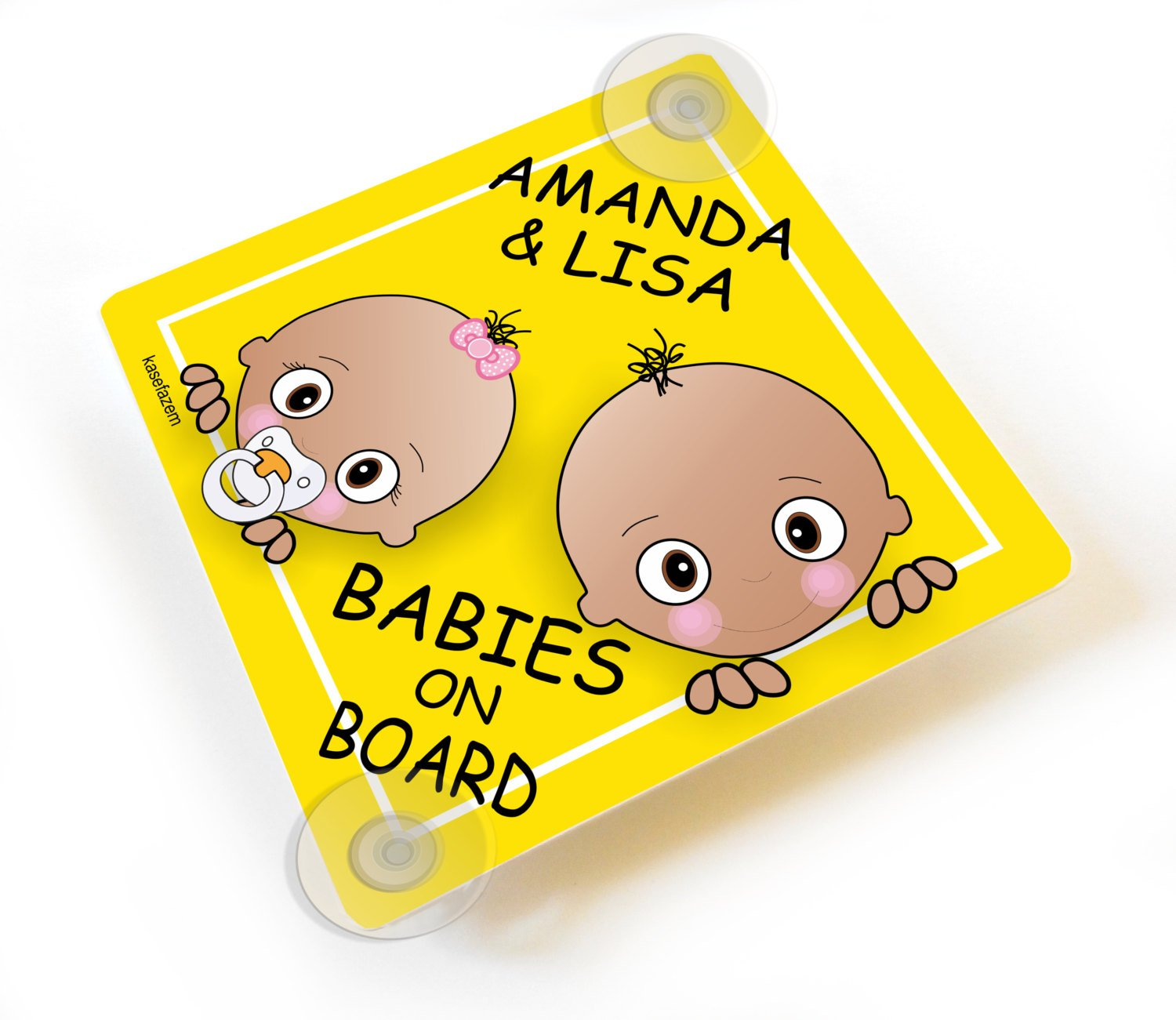 Big brother and Little Sister Personalizable Babies on Board Yellow Car Sign
