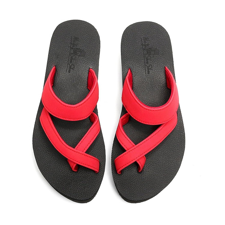 Aelegant Damen Sommer Komfort Flip Flops Zehentrenner Schuhe Thong Sandalen Sommerschuhe Strand Sandalen Hausschuhe Pantoffeln (35, Rot)