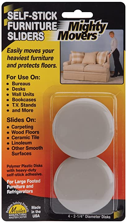 Mighty Movers Self Stick Furniture Sliders 2.25 Round 4/Pkg