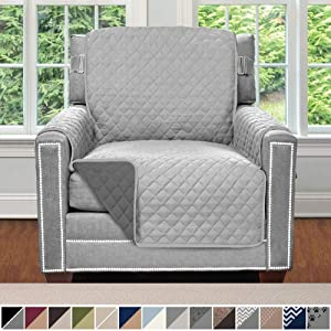 Sofa Shield Original Patent Pending Reversible Chair Slipcover, 2 Inch Strap Hook, Seat Width Up to 23 Inch Machine Washable Furniture Protector, Slip Cover for Pets, Kids, Chair, Light Gray Charcoal