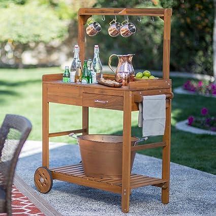 Amazon.com: Acacia Wood Garden Potting Bench Sink with ...