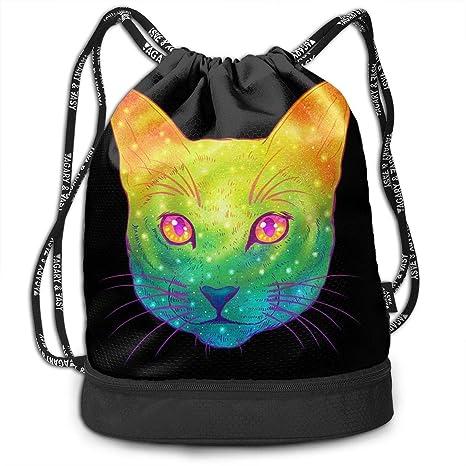 79fc104e5b87 Amazon.com: HUOPR5Q Funny Cute Animal Galaxy Cat Drawstring Backpack ...